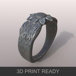 3D model ring butterfly