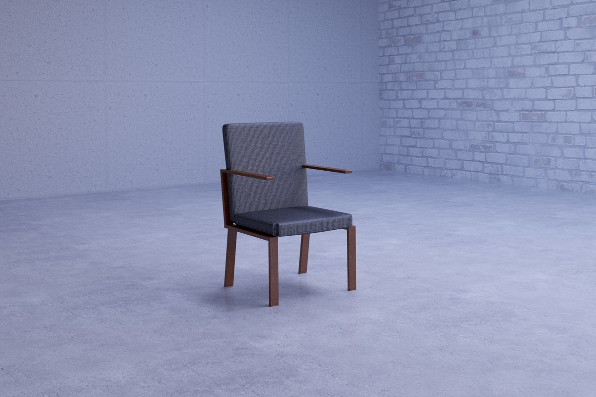 beautiful simple gray chair 3D