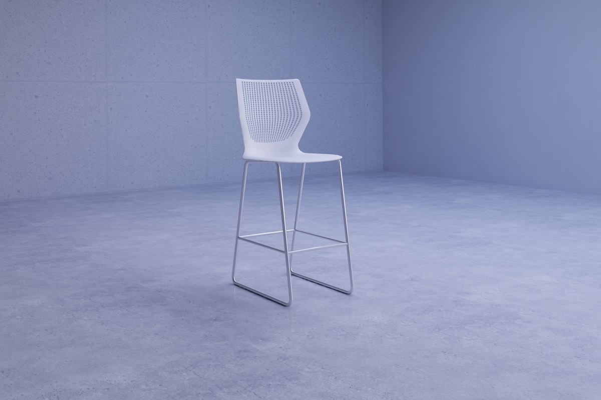 3D model simple white chair