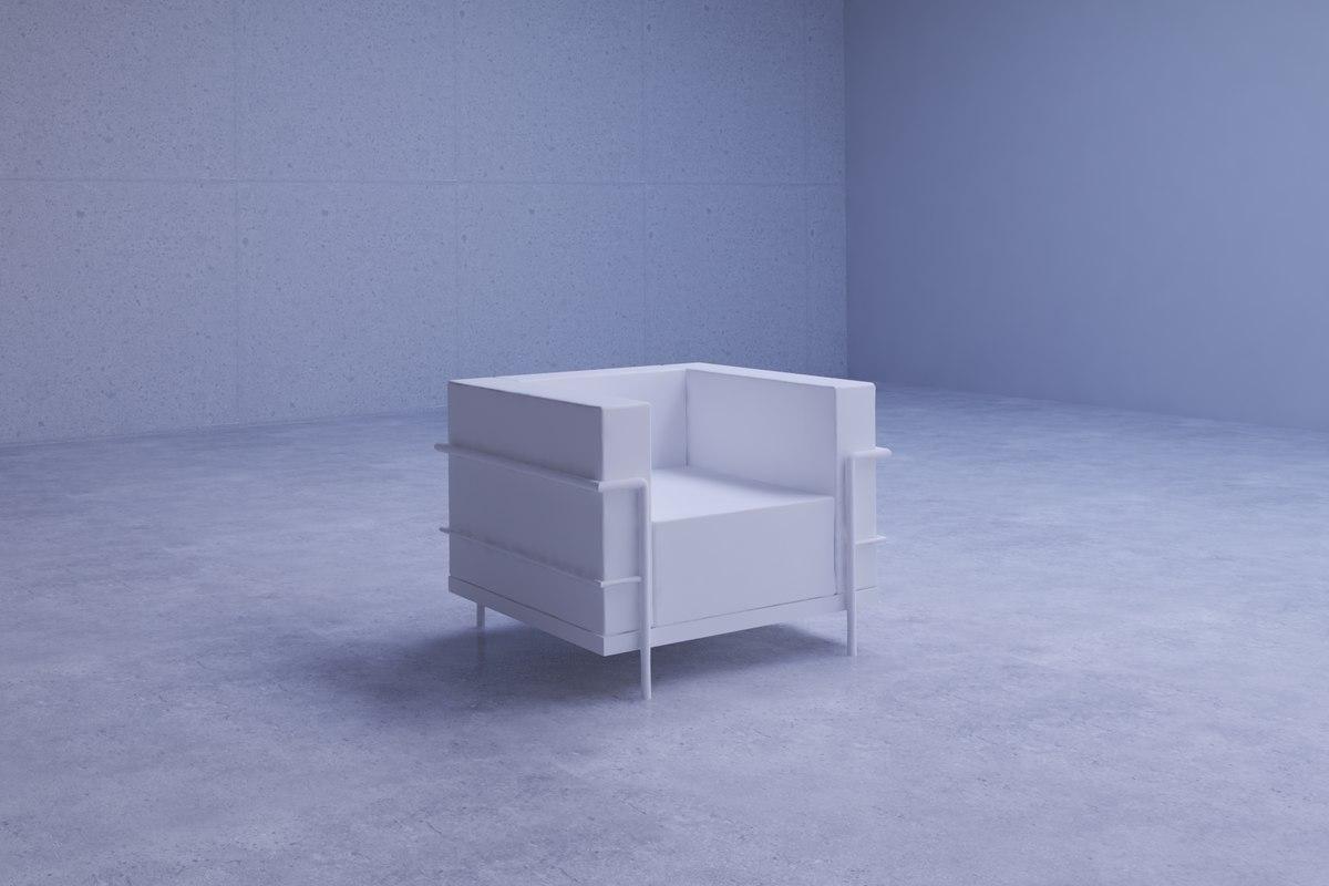 elegant reception lounge chair 3D