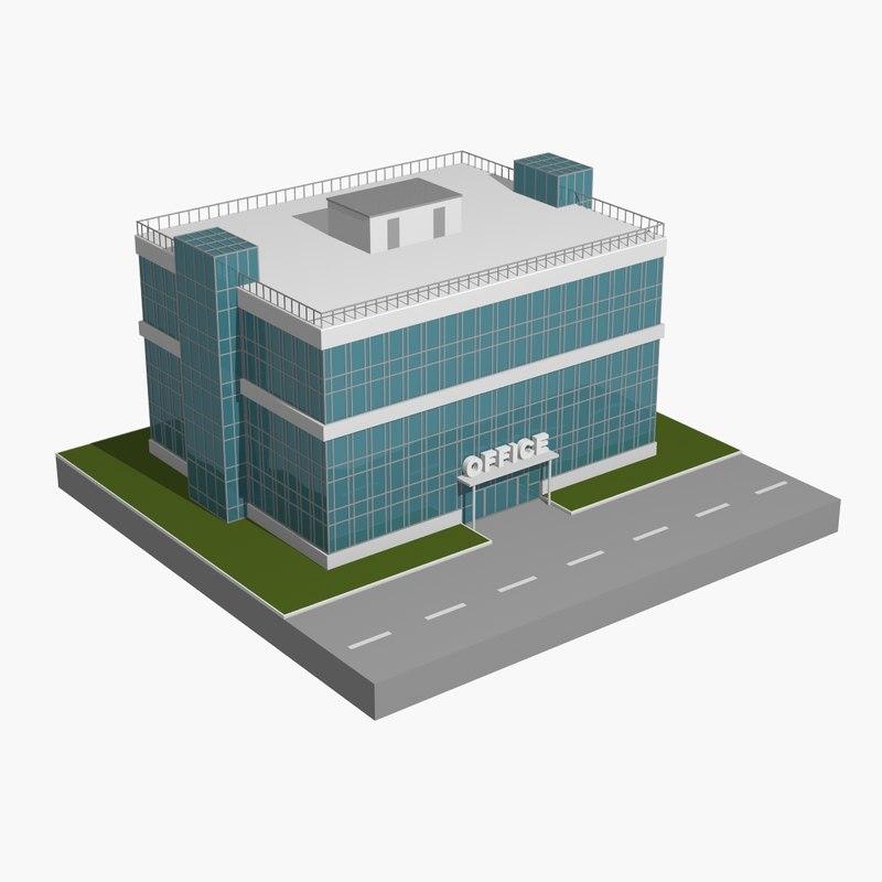 3D model building toon office