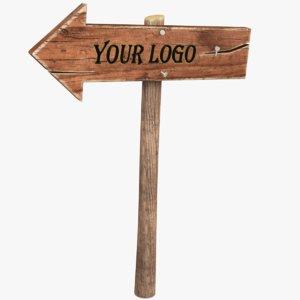 wooden arrow sign 3D model