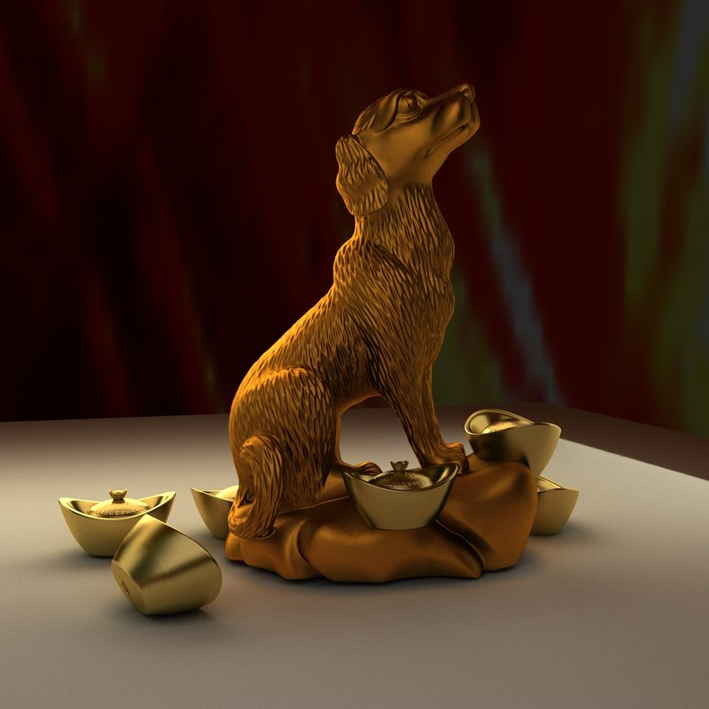 chinese dog statue 3D model