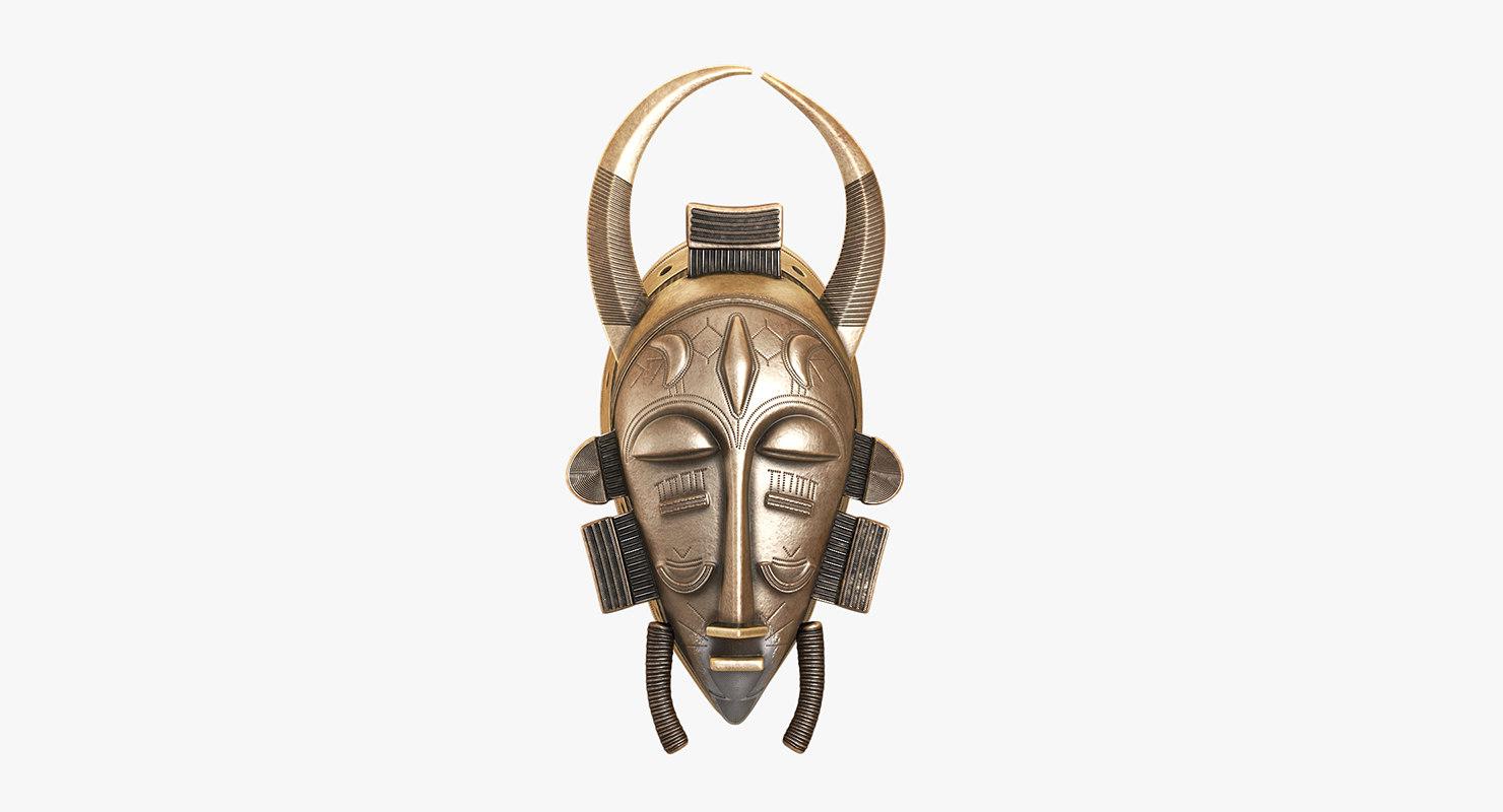 african mask baule 3D model