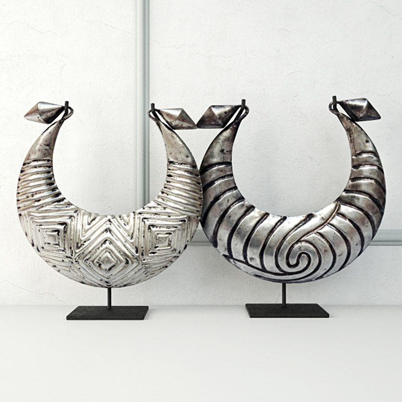 tribal metal necklaces 3D model