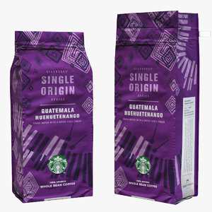 3D model starbucks coffee packaging guatemala