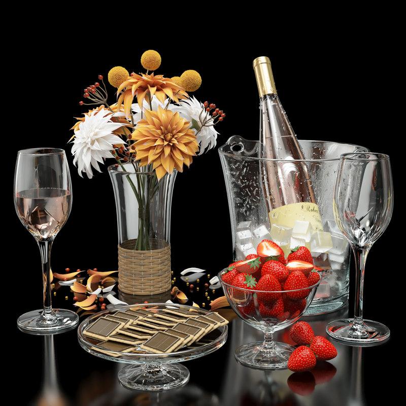 3D rose wine model