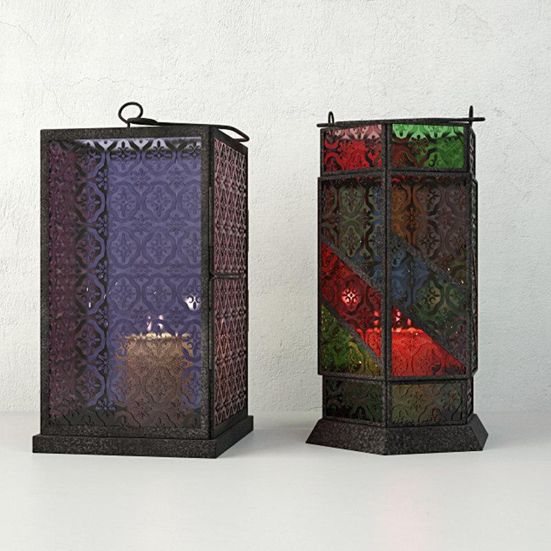 3D moroccan votive lamps model