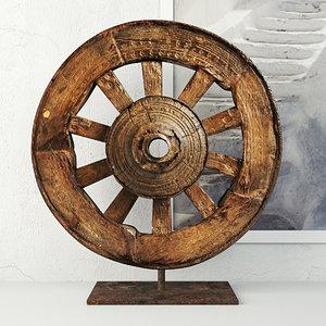 3D ox cart wheel stand model
