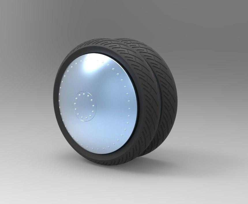3D model double wheel