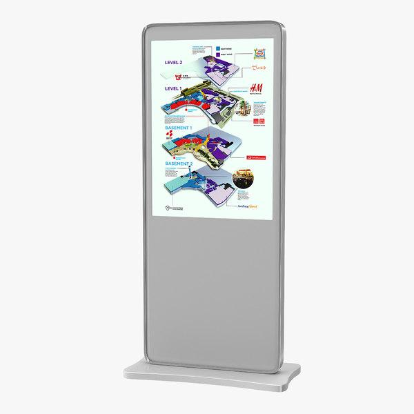 digital information kiosk white 3D model