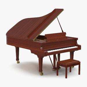 grand piano bench 3D model