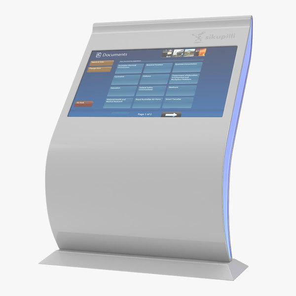 multi touch screen kiosk 3D model