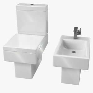 3D modern bathroom toilet bidet model