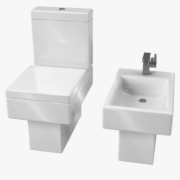 3D modern bathroom toilet bidet model