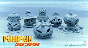 3D halloween pumpkins pack model
