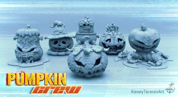 3D halloween pumpkins pack model