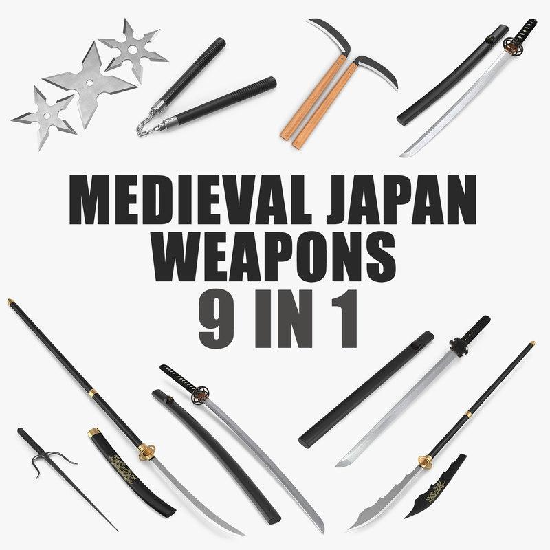 medieval japan weapons 3D model