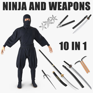 ninja weapons 3D model