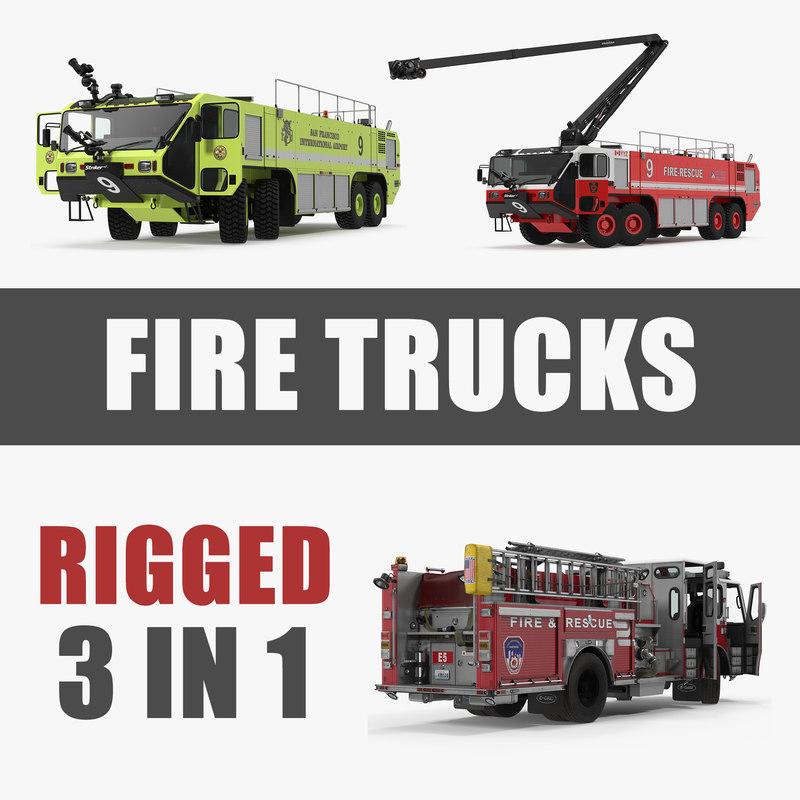 rigged trucks 3 3D model