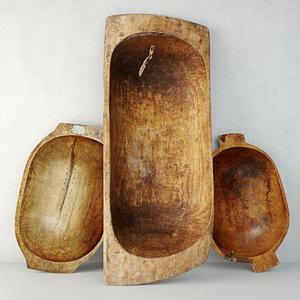 3D antique dough bowls