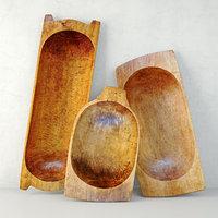 3D antique dough bowls model