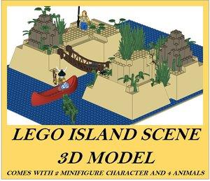 lego scene island 3D model