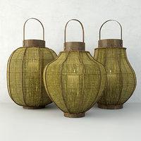 bamboo lanterns 3D model