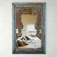 3D blue peacock mirror