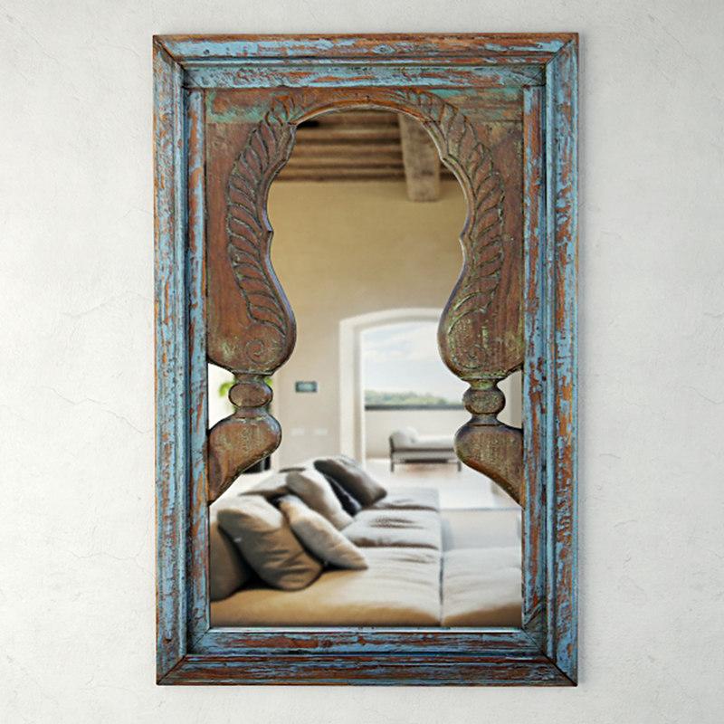 3D blue peacock mirror