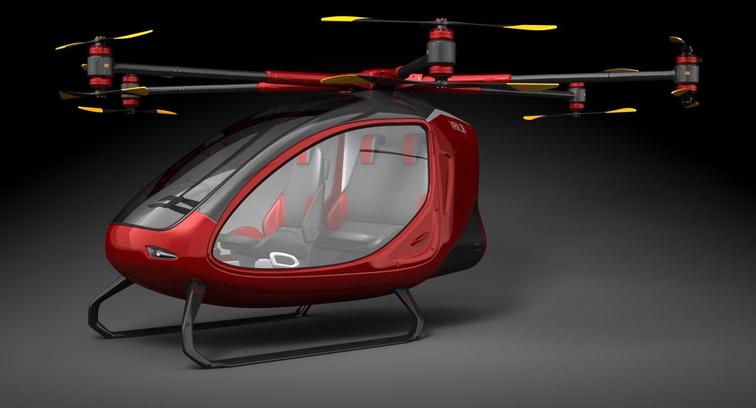 3D electric passenger drone model
