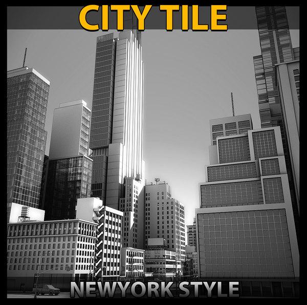 3D model city tile 3