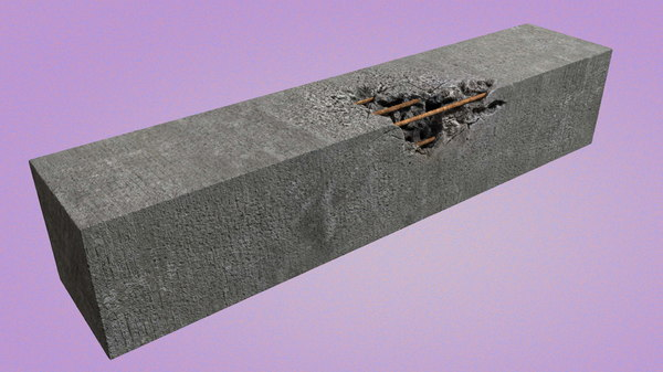 worn concrete steel 3D model