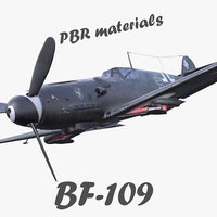 pbr bf-109 german fighter aircraft 3D