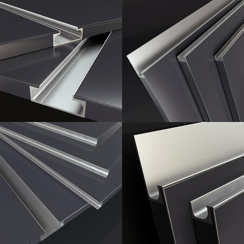 3D model facades integrated handle