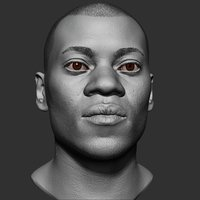 black man head realistic 3D model