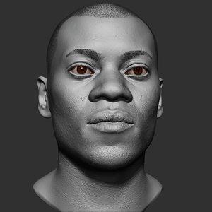 black man head realistic 3D model