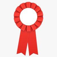 3D model realistic award ribbon red