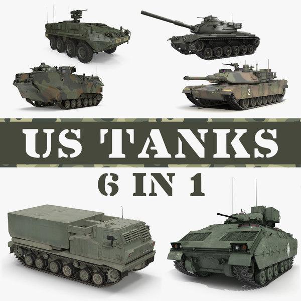 3D model tanks landing tracked