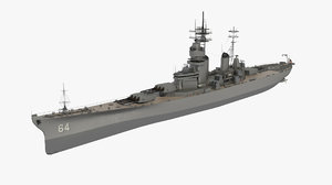 3D uss wisconsin battleship ship