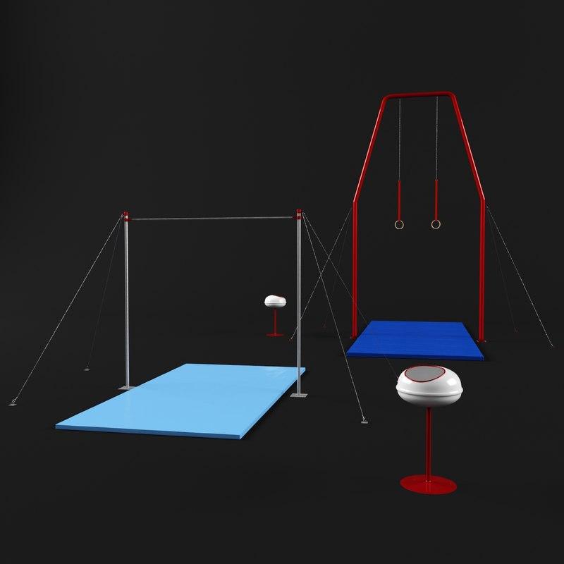 gymnastic equipment horizontal bar 3D model