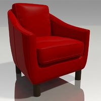 3D red leather easy chair