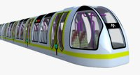 3D model metro train sci-fi