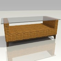wicker coffee table 3D