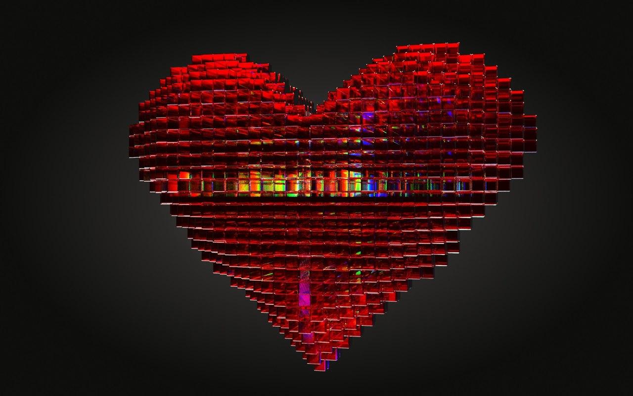 3D heart glass model