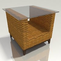 wicker end table 3D