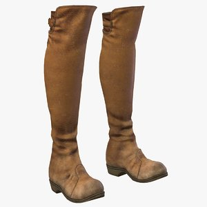 ready leather boots pbr 3D model