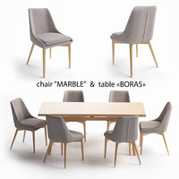Table set table Boras chair Marble 3D model