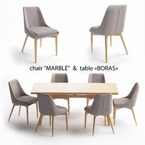 boras chair marble 3D model