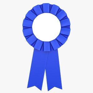 realistic award ribbon blue 3D